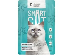 Smart Cat Паучи для взрослых кошек и котят: кусочки ЛОСОСЯ в нежном соусе, 85 г