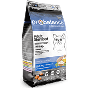 ProBalance Sterilized Корм сухой для стерилиз.кошек/кастр. котов, (курица-рис) 10 кг