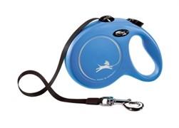 FLEXI рулетка-ремень для собак до 50кг, 5 м  (New Classic L Tape 5 m) синяя