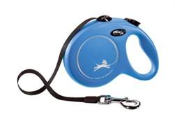 Поводок-рулетка для собак Flexi New Classic S ленточный до 15кг, 5м, синяя