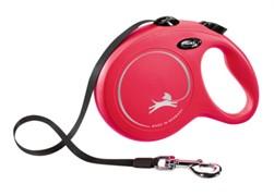 Поводок-рулетка для собак Flexi New Classic S ленточный до 15кг, 5м, красная