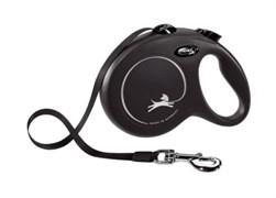 Поводок-рулетка для собак Flexi New Classic S ленточный до 15кг, 5м, черная