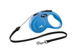 Поводок-рулетка для собак Flexi New Classic S тросовый, до 12кг, 5м, синяя