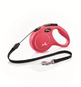 Поводок-рулетка для собак Flexi New Classic M тросовый до 20кг, 5м, красная
