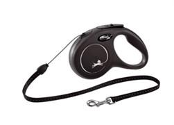 Поводок-рулетка для собак Flexi New Classic M тросовый до 20кг, 5м, черная