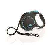FLEXI Рулетка-ремень для собак до 25кг, 5м,  (Black Design M Tape 5m ) синяя