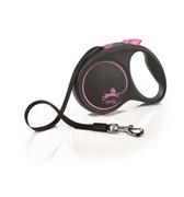 FLEXI Рулетка-ремень для собак до 25кг, 5м,  (Black Design M Tape 5m ) розовая