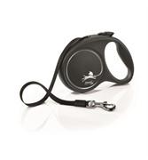 FLEXI Рулетка-ремень для собак до 50кг, 5м,   (Black Design L Tape 5m ) черная