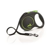 FLEXI Рулетка-ремень для собак до 50кг, 5м,   (Black Design L Tape 5m ) зеленая