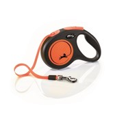 FLEXI Рулетка-ремень светоотражающая для собак до 15кг, 5м,  (New Neon S Tape 5m )  оранжевая