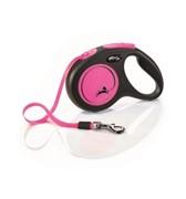 FLEXI Рулетка-ремень светоотражающая для собак до 15кг, 5м,  (New Neon S Tape 5m )  розовая