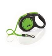 FLEXI Рулетка-ремень светоотражающая для собак до 15кг, 5м,  (New Neon S Tape 5m )  зеленая