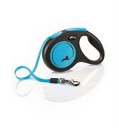 FLEXI Рулетка-ремень светоотражающая для собак до 15кг, 5м,  (New Neon S Tape 5m ) синяя