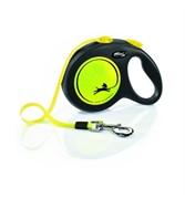 FLEXI Рулетка-ремень светоотражающая для собак до 50кг, 5м, желтая (New Neon L Tape 5m yellow)