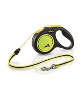 FLEXI Рулетка-трос светоотражающая для собак до 8кг, 3м, желтая (New Neon XS Cord 3m yellow)