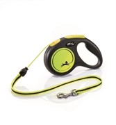 FLEXI Рулетка-трос светоотражающая для собак до 20кг, 5м, желтая (New Neon M Cord 5m yellow)