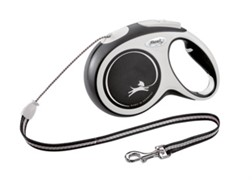 Поводок-рулетка для собак Flexi New Comfort S тросовый до 12кг, 8м, черная