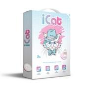 iCat, комкующийся белый наполнитель с ароматом детской присыпки, 5 кг