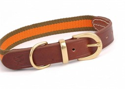 Waifs&Strays Classic комбинированная коричневая кожа/оранжевая тесьма ошейник кожа коричневый L