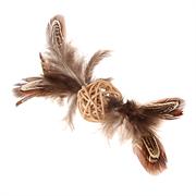 """""""GiGwi""""   Плетеный мячик с колокольчиком и перьями, перо, 13 см"""