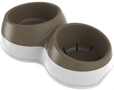BAMA PET миска для собак двойная CIOTOLOTTO  33х20х9h см, коричневая