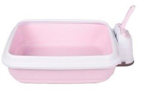 IMAC туалет-лоток для кошек DUO с совочком на подставке 59х40х28h см, нежно-розовый