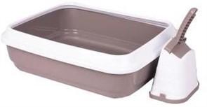 IMAC туалет-лоток для кошек DUO с совочком на подставке 59х40х28h см, серо-бежевый