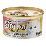 Simba Cat Mousse мусс для кошек сердце/куриная печень 85г