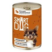Smart Dog консервы для взрослых собак и щенков кусочки индейки с перепелкой в нежном соусе