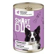 Smart Dog консервы для взрослых собак и щенков кусочки кролика в нежном соусе