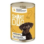 Smart Dog консервы для взрослых собак и щенков кусочки курочки с потрошками в нежном соусе