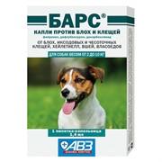 БАРС капли против блох и клещей для собак от 2 кг до 10 кг 1 пип по 1,4 мл.