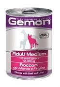 GEMON  консервы для собак средних пород: кусочки говядины с печенью