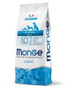 Monge Dog Speciality Light корм для собак всех пород низкокалорийный лосось с рисом