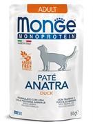 Monge Cat Monoprotein Pouch паучи для кошек утка 85г