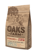 OAK'S FARM корм для стерилизованных кошек, лосось и криль 18 кг