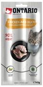 Ontario лакомство для кошек Палочки с курицей и уткой 3 шт