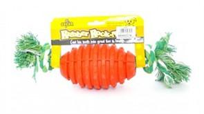 Игрушка для собак резиновая с канатом Бочонок 8*32 см