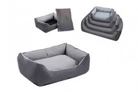 Лежак прямоугольный с подушкой №1, 55*40*18 серый (9401сер)