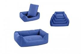 Лежак прямоугольный с подушкой №2, 71*51*21см тёмно-синий (9402син)