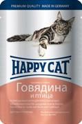 Happy Cat Хэппи Кэт пауч д/кошек кусочки в соусе Говядина и Птица 100г