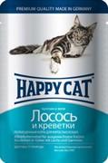Happy Cat Хэппи Кэт пауч д/кошек кусочки в желе Лосось и Креветки 100г