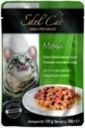EDEL CAT Эдель Кэт  пауч д/кошек кусочки в соусе с Индейкой и Уткой 100г
