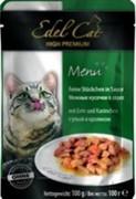EDEL CAT Эдель Кэт пауч д/кошек кусочки в соусе с Уткой и Кроликом 100г