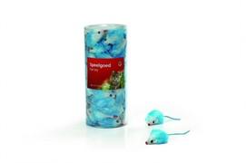 I.P.T.S. 440447 Набор игрушек д/кошек Мышь плюшевая голубая 5см (туба)