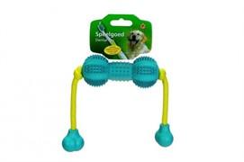 I.P.T.S. 625757 Игрушка д/собак Гантель шипованная на веревке д/ухода за зубами, резина, голубая 13см