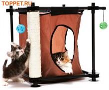 Игровой комплекс с когтеточкой для кошек: Тайное укрытие. Hideaway: 44*45*45см, сизаль