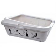 Moderna Туалет-лоток Силуэт кошки с рамкой, 42х32х16см, белый