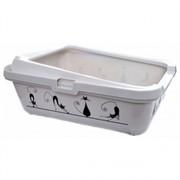 Moderna Туалет-лоток Силуэт кошки с рамкой, 51х39х19см, белый