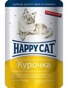 Happy Cat  Хэппи Кэт пауч д/кошек кусочки в яичном соусе Курочка Ломтики 100г